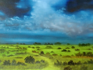 Cloudy Skies Over The Wolds Oil Painting