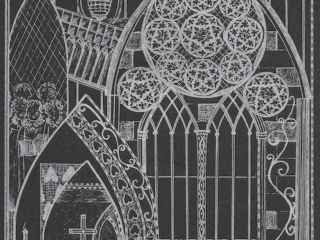 Exeter Cathedral Silver Ink on Black Card (EC3)