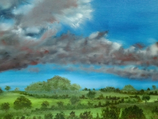 Early Evening Over The Wolds - Oil painting