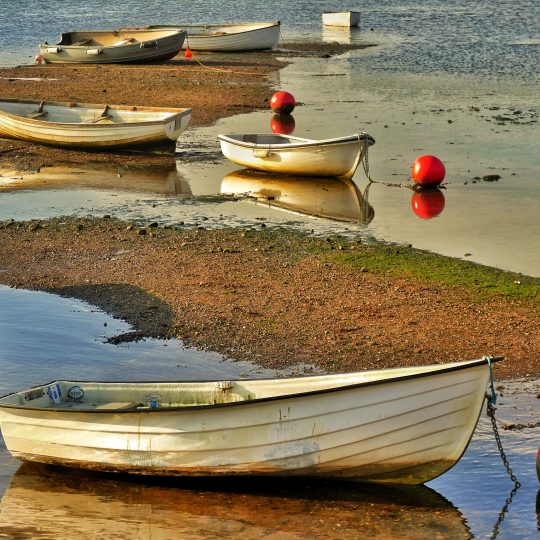 Dinghies on the foreshore