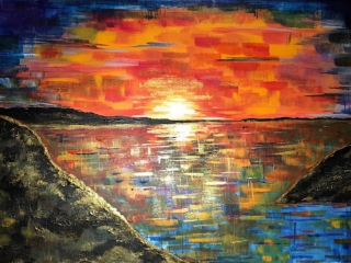 Sunset over water painting