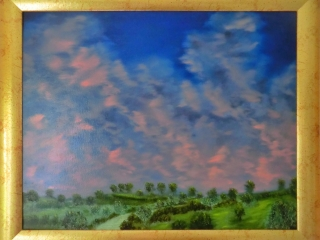 Sunset Over The Pathway Home - Oil Painting
