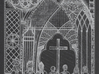 Exeter Cathedral Silver Ink on Black Card (EC4)