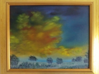 A Winter Time Sunburst - Oil on Board Framed & Ready To Hang