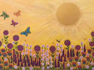 Summer Love - Acrylic on Canvas hand-finished with Swarovski Beads Painting
