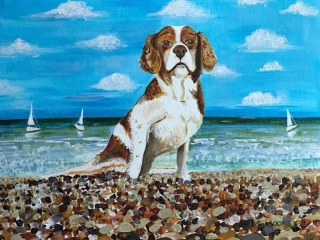 Visiting My Happy Place - Acrylic on Paper Painting of Dog