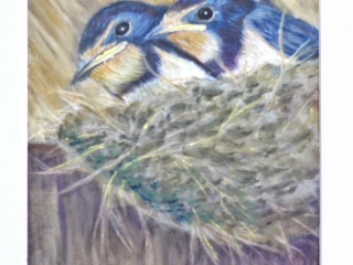 Birds in the nest painting