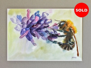 Bee pollinating flower painting