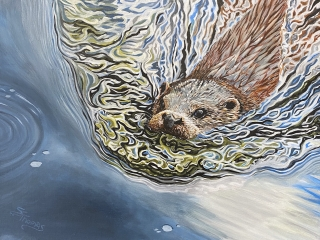 Otter swimming painting