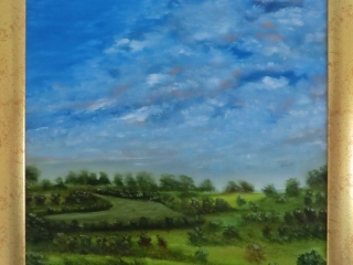 A Nice Day On The Wolds - Oil on Board Framed Painting