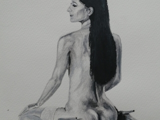 Nude on Table Watercolour