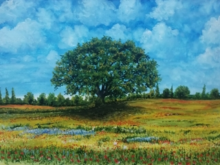 Painting of tree in a field