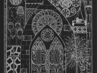 Exeter Cathedral Silver Ink on Black Card (EC2)