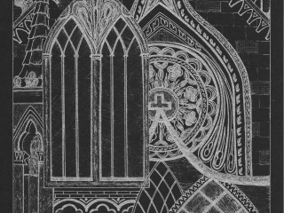Exeter Cathedral Silver Ink on Black Card (EC1)