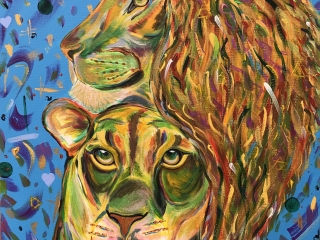 Two Lions Painting