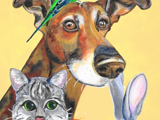 Waiting for the Weekend - Acrylics Animals Painting