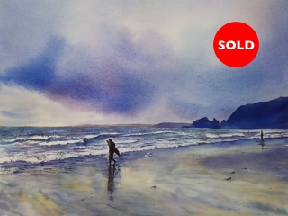 The Lonely Surfer, Praa Sands, Cornwall - Watercolour