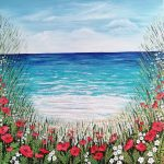 Ocean and poppies acrylic painting